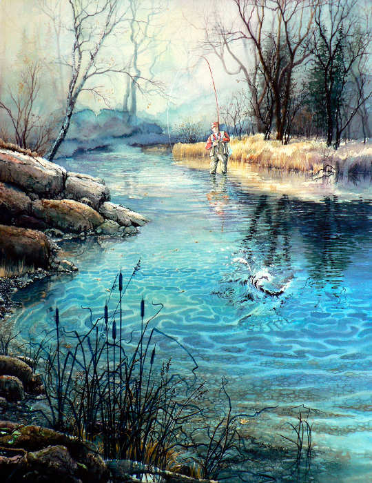painting of fisherman in spring stream