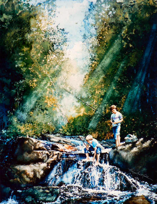 painting of boys fishing in a creek