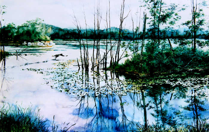 lake landscape painting