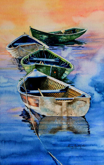 painting of boats in spring mist