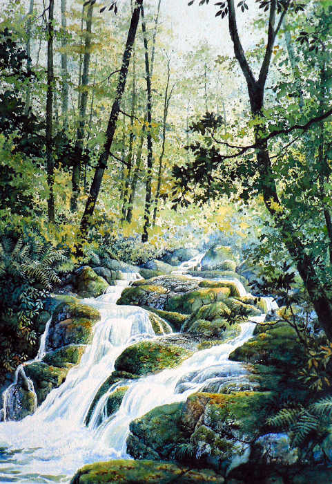 painting of forest in summer