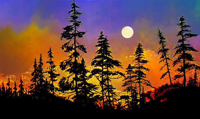 forest silhouette landscape painting