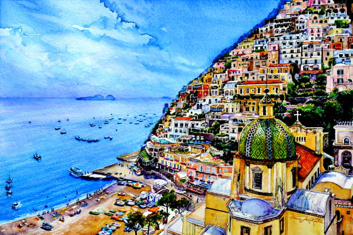 Positano Italy landscape painting