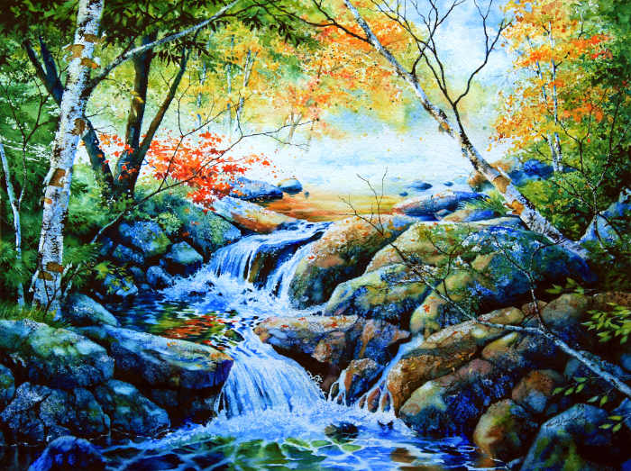 waterfall landscape painting