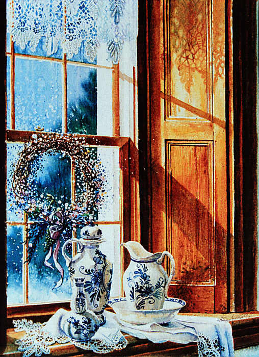 still life painting of porcelain and lace in window