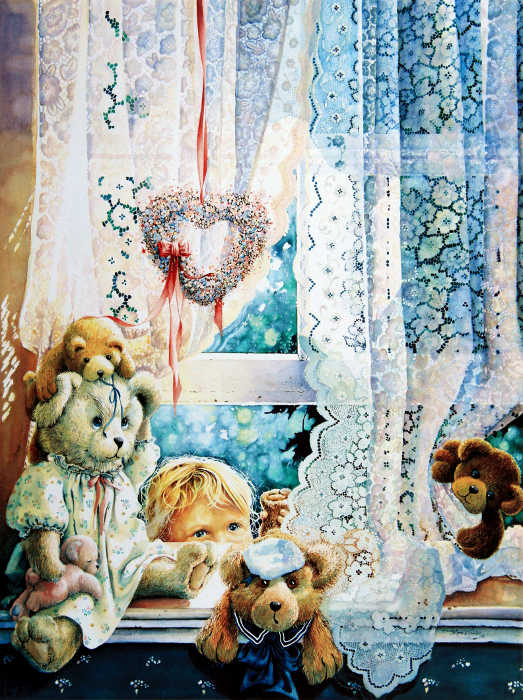 still life painting of teddy bears on window sill