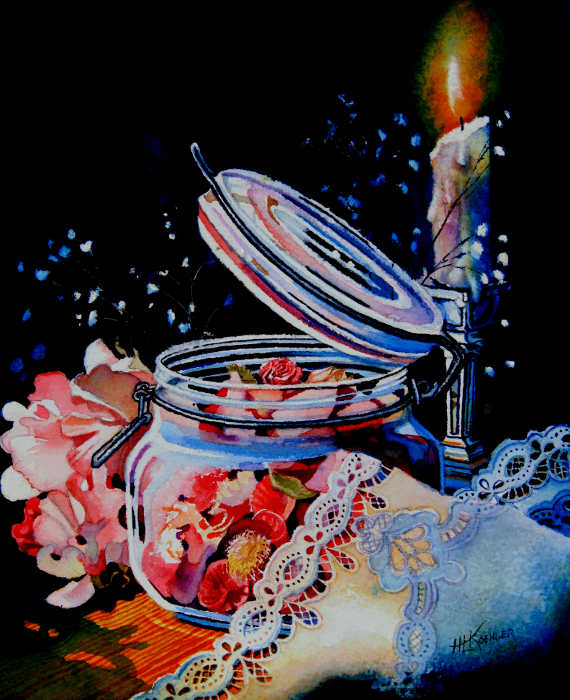pot pourri and candle still life painting