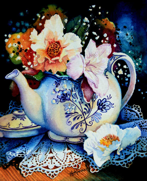 flowers in a tea pot still life painting