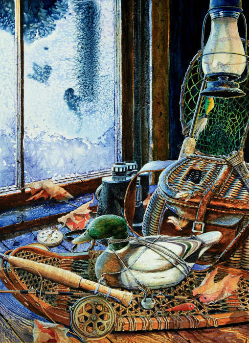 still life painting of duck decoy and fishing gear
