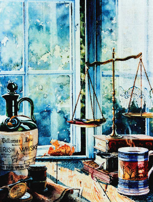 still life painting of scales of justice in window