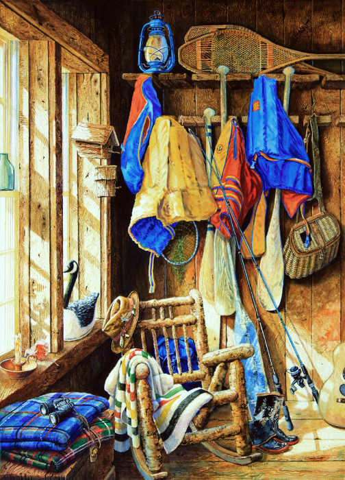 still life painting of life jackets and canoe paddles