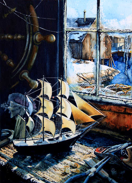 still life painting of model ship on work bench