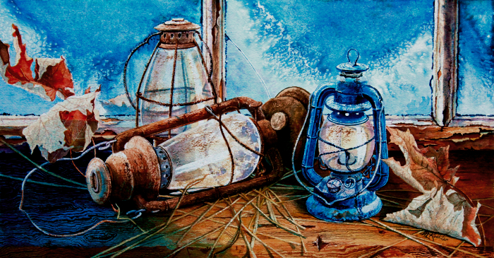 still life painting of hurricane lanterns