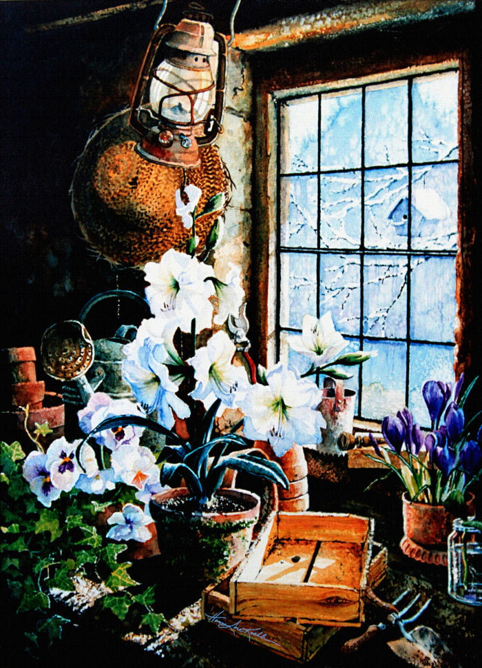 still life painting of potting shed flowers