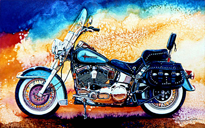 still life painting of Harley-Davidson motor bike