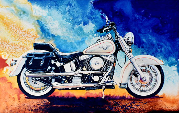 still life painting of Harley-Davidson motorcycle
