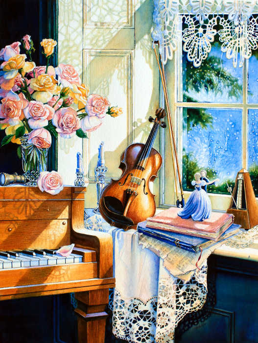 still life painting of piano in a sunny window