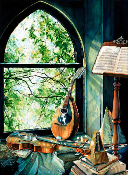 still life painting of violin and mandolin