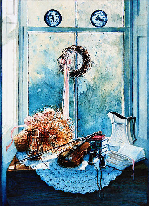 still life painting of violin on window sill