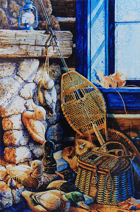 still life painting of snowshoes duck decoy by fireplace