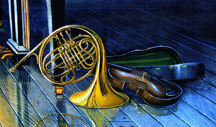 still life painting of piano trumpet and violin