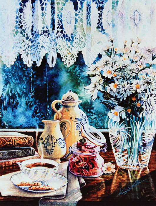 still life painting of objects on window sill