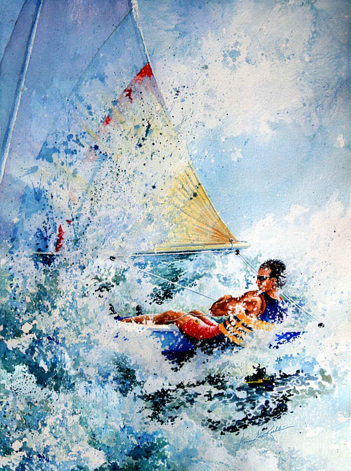 laser sailboat painting