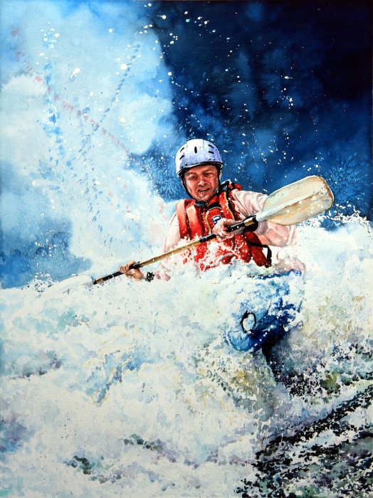 whitewater kayaking painting