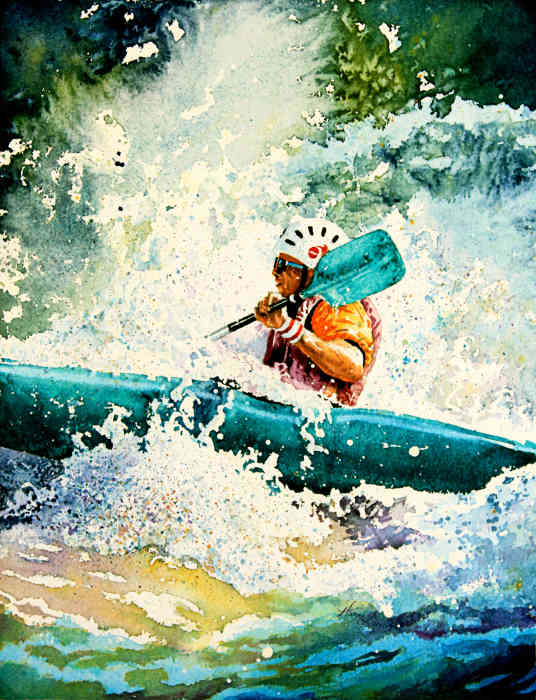 whitewater kayaker painting