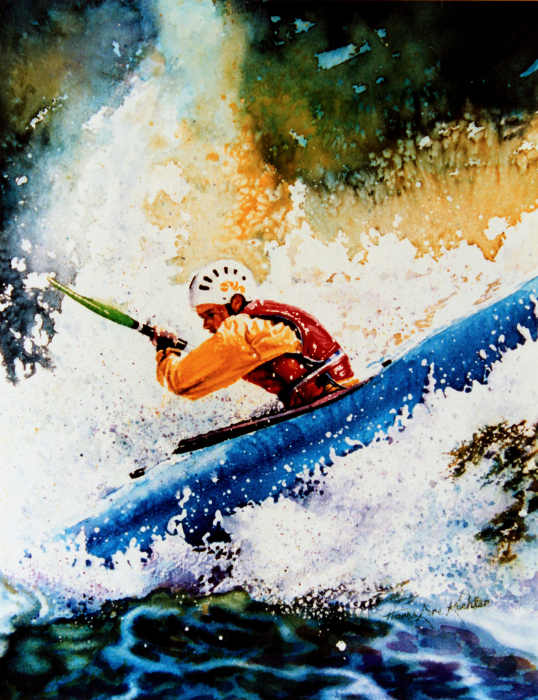whitewater kayak painting