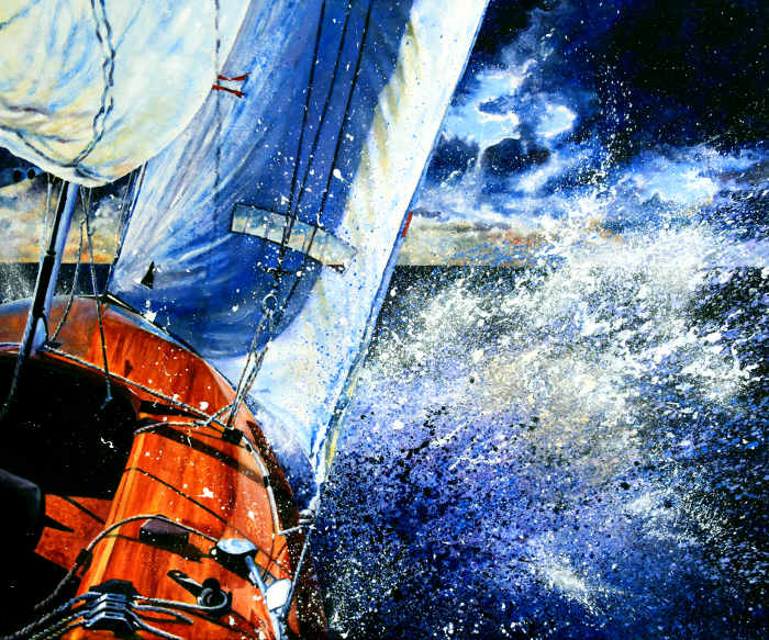 painting of sailboat on rough seas