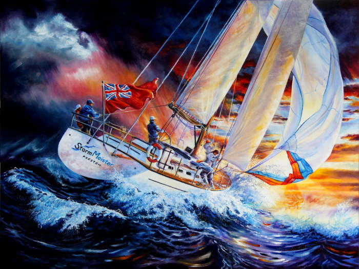 painting of sailing yacht in rough seas