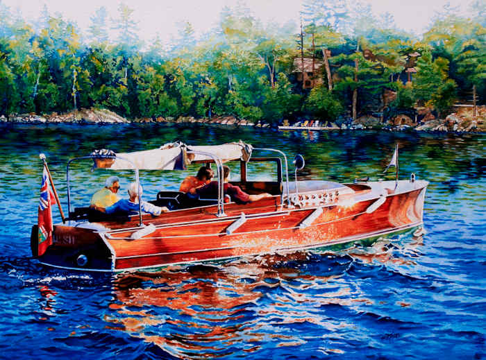 painting of woody lake cruiser motor boat