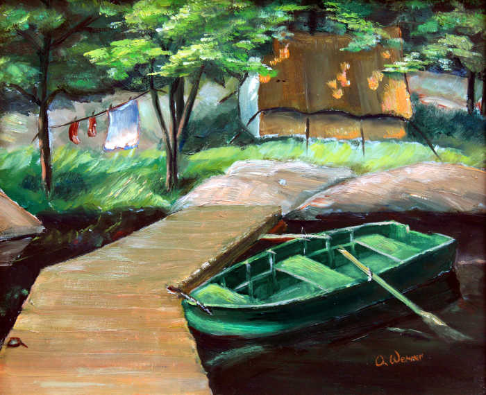 rowboat painting