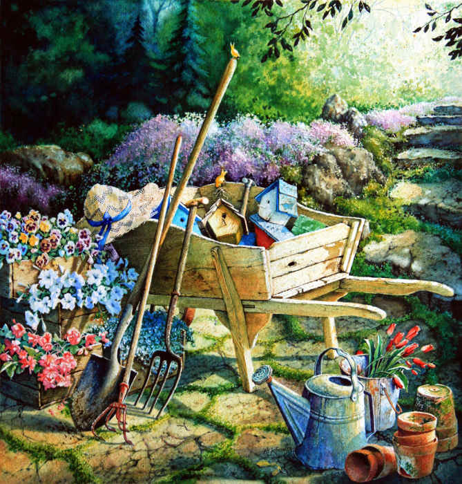 Garden Flowers, Wooden Wheelbarrow, Tools, Bird Houses Still Life Art