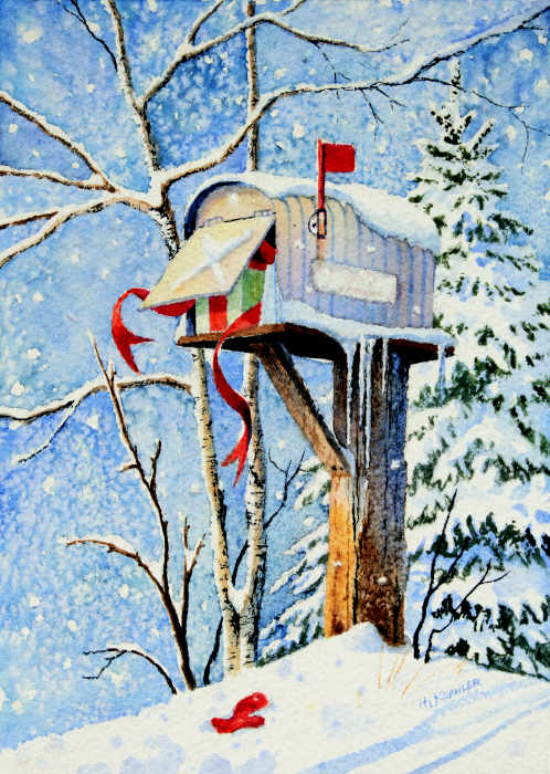 Winter Country Mailbox Painting and Christmas Cards