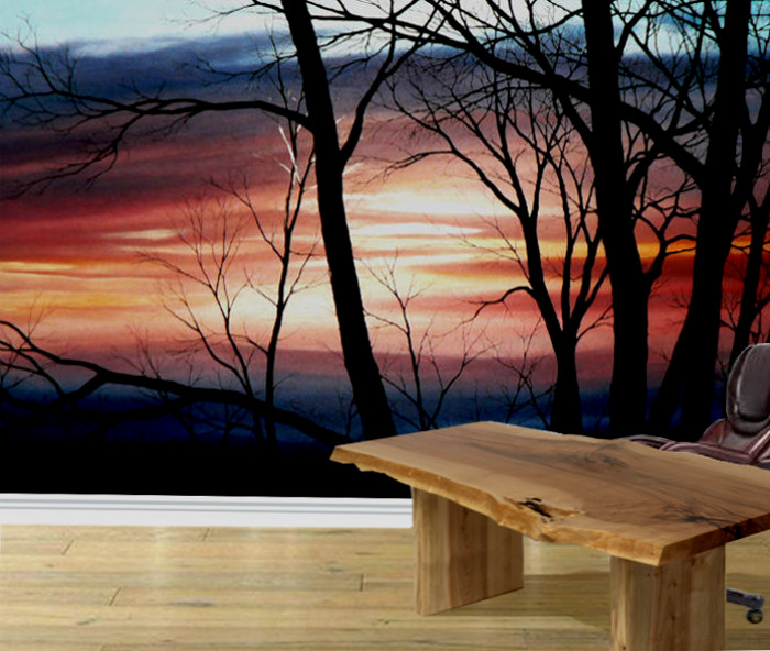 landscape wall mural of tree silhouettes