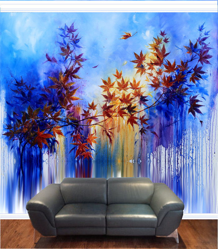 contemporary autumn leaves nature mural