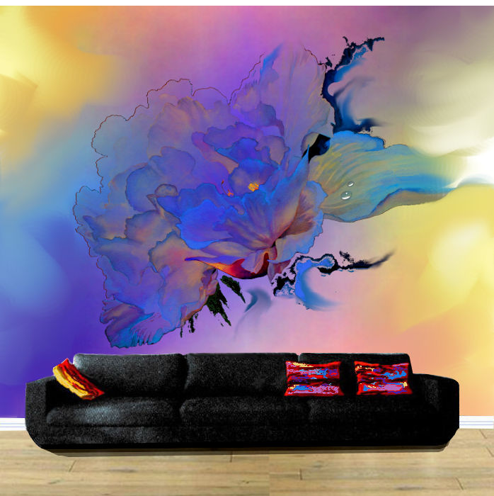 contemporary flower abstract wall mural