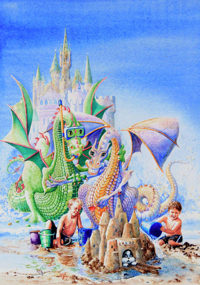 dragon castle wall mural for kids
