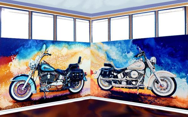 harley davidson motorcycle wall mural and art prints