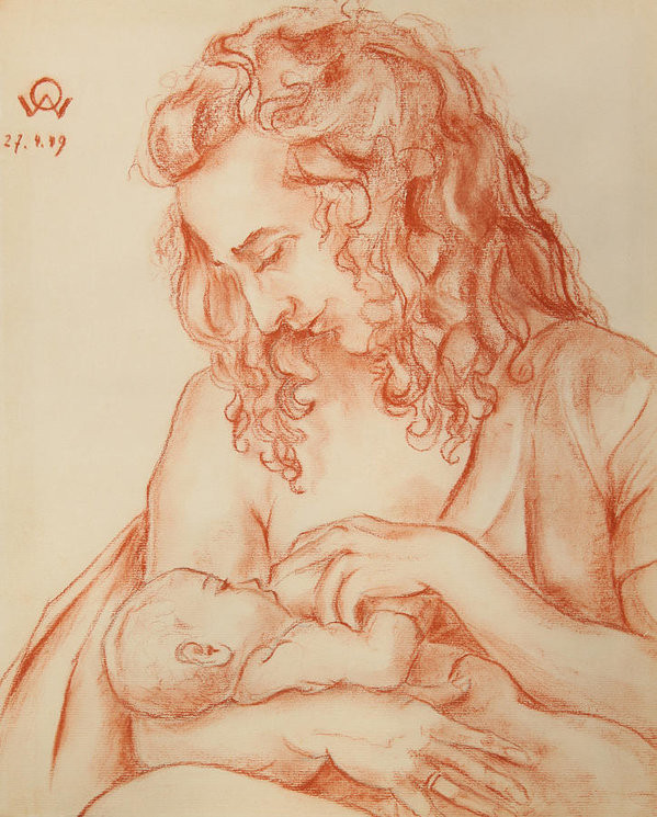 painting of mother nursing infant