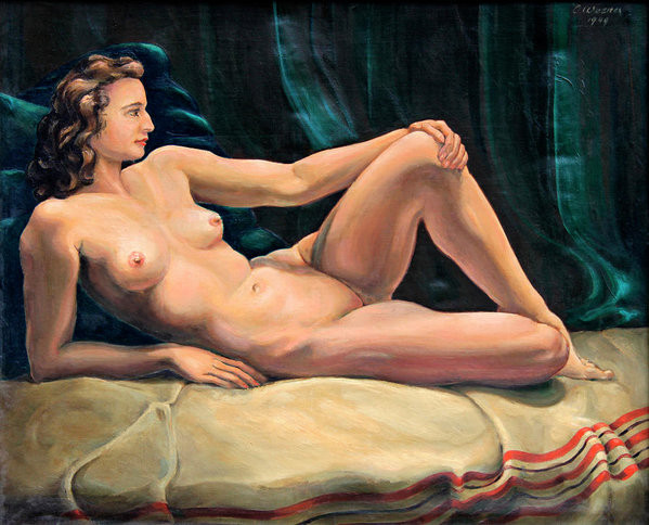 reclining nude woman painting