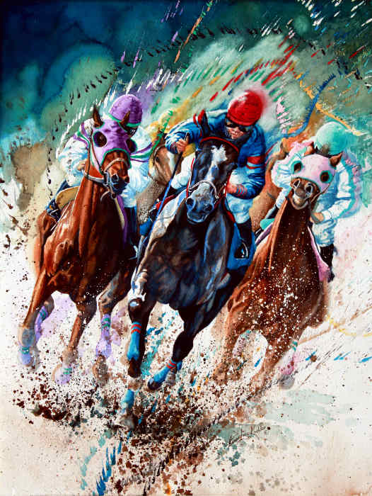 horse racing painting of Kentucky Derby