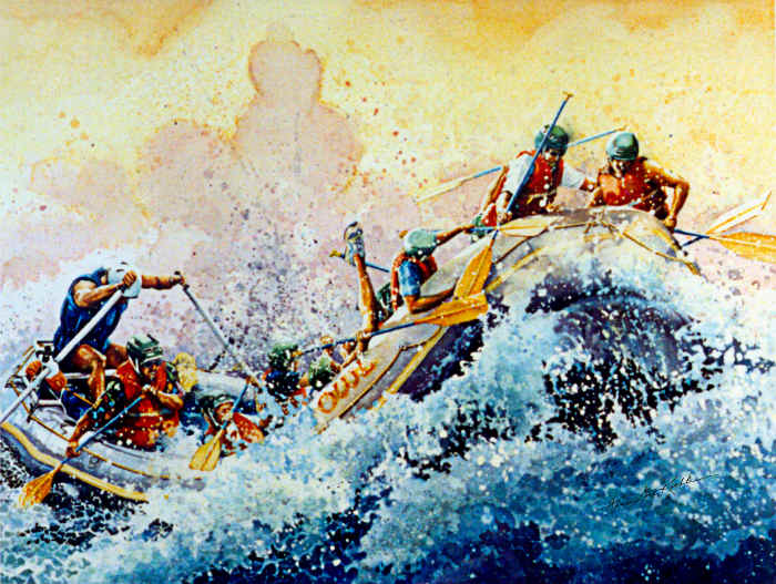 whitewater rafting painting
