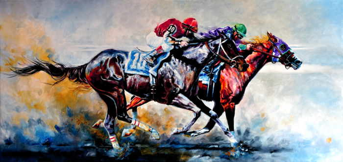 horse racing painting of the Preakness