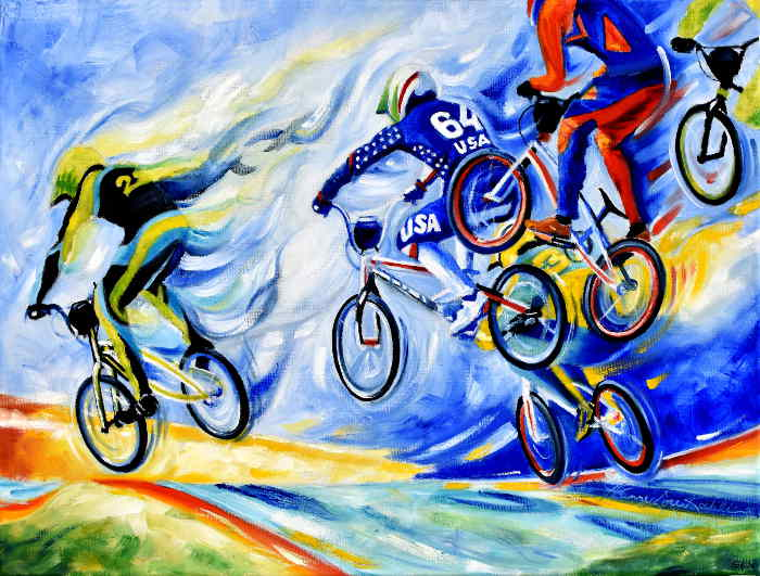 Olympic BMX Bike Racing painting