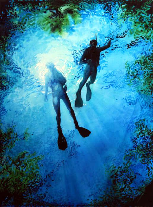 Scuba Diving Painting Diving Sports Art
