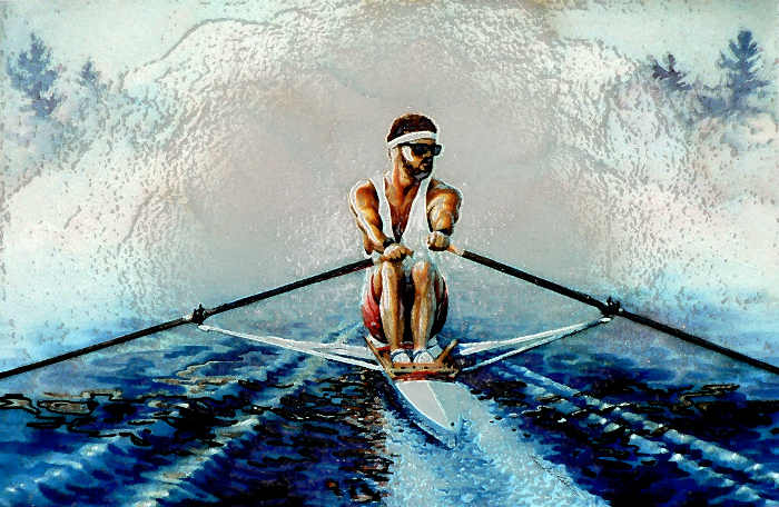 scull rowing painting