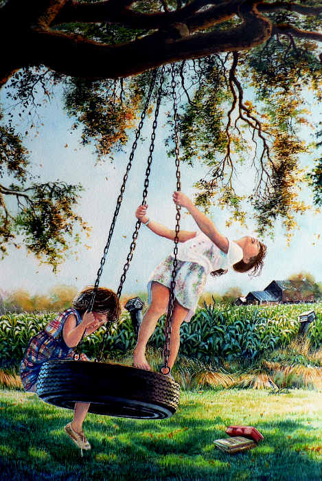 Painting Of Two Girls Playing On A Tire Swing